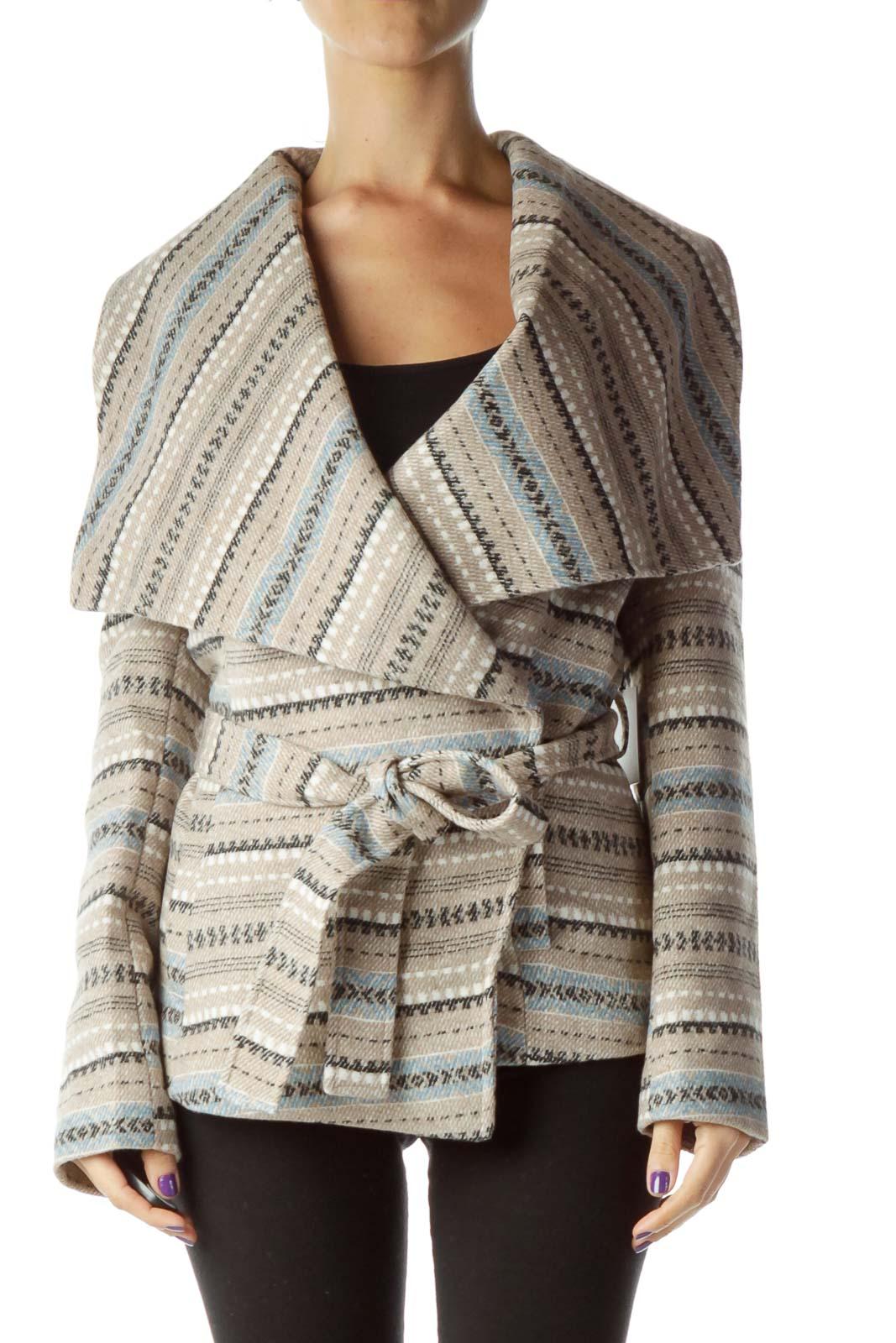Beige Blue Printed Stripe Jacket