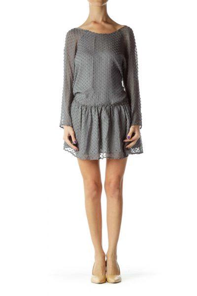 Gray Textured Long Sleeve Day Dress