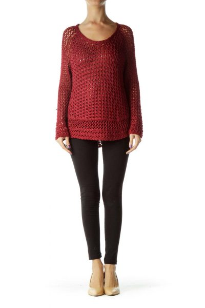 Red Cable Knit Long Sleeve Sweater