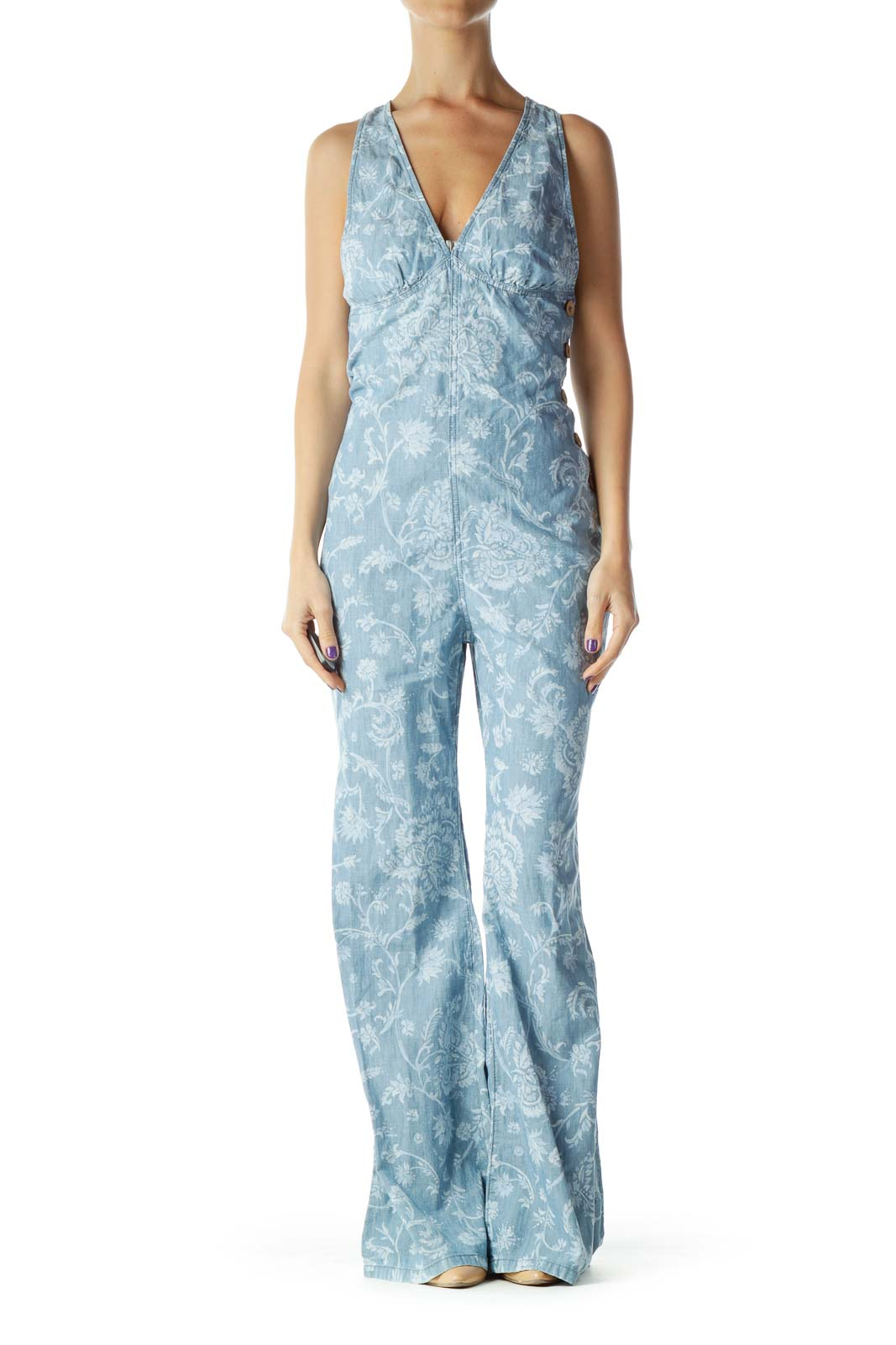 Blue White Printed Jumpsuit