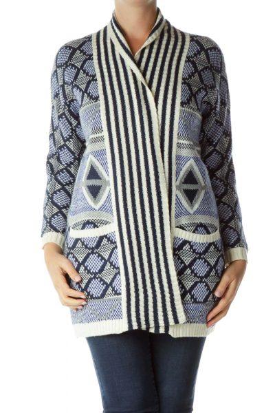 Cream Blue Knit Sweater