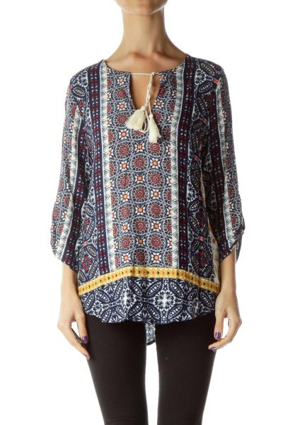 Navy Red Printed Blouse