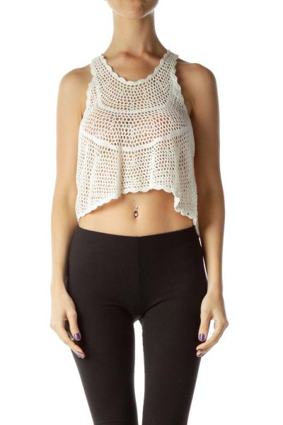 Cream Cable Knit Crop Top