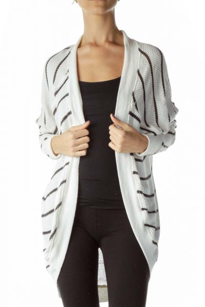 White Black Knit Cardigan
