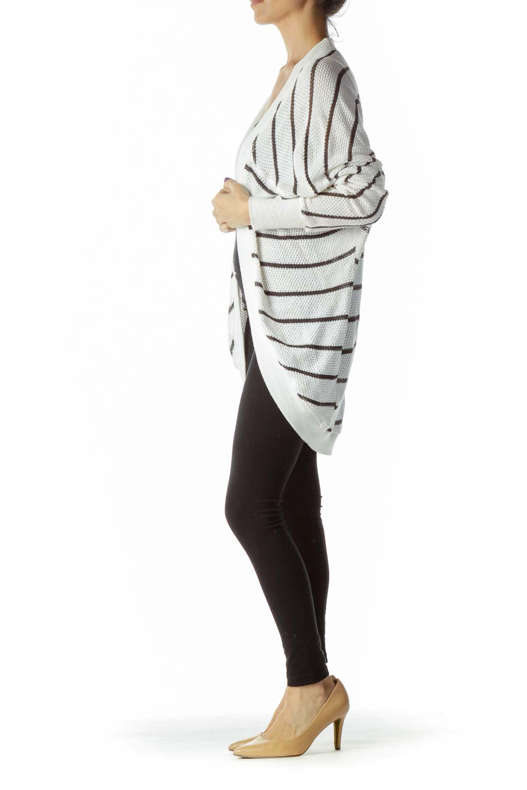 White Black Knit Cardigan