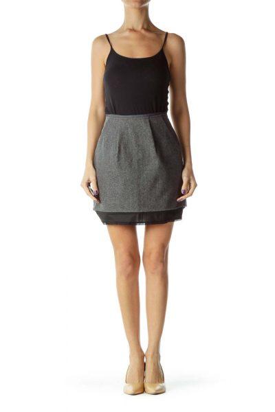Gray Pocketed Mini Skirt