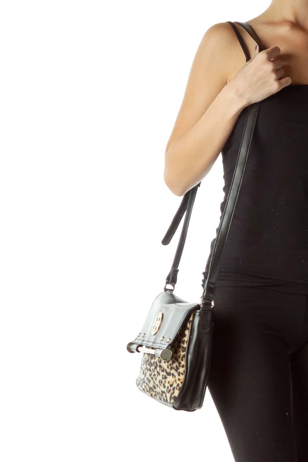 Black Faux-Leather Leopard Print Crossbody Bag