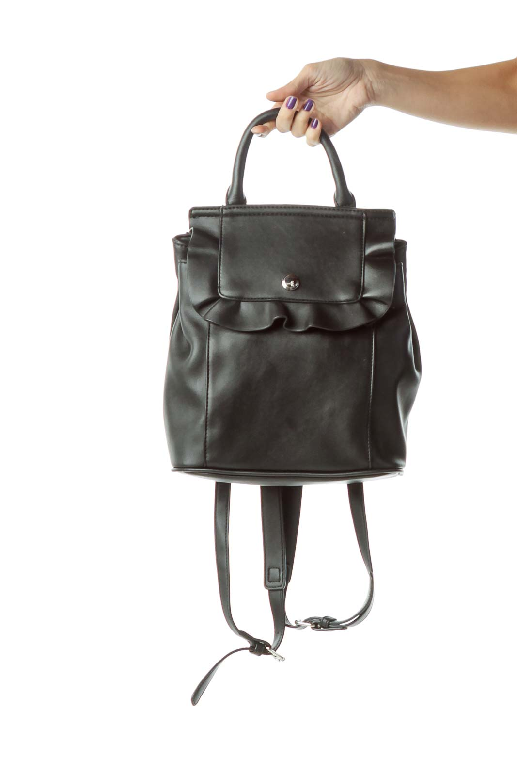 Black Ruffled Backpack