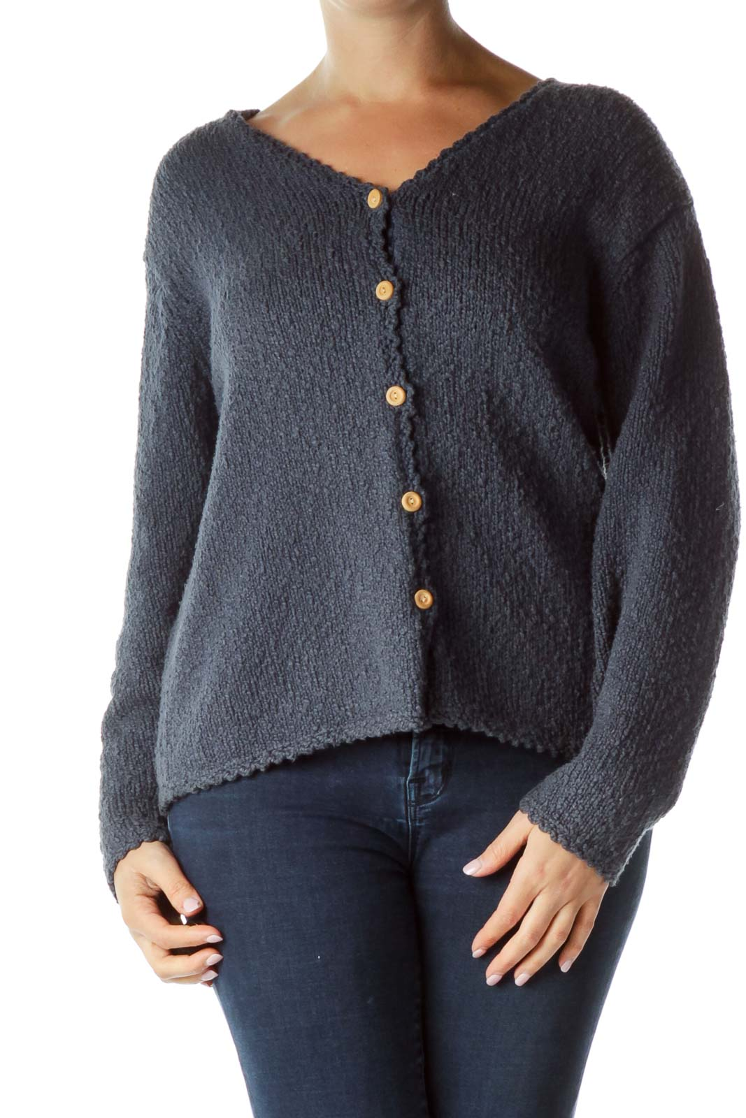 Blue Textured Buttoned Sweater