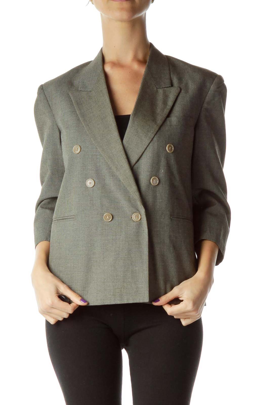 Gray Double Breasted Cropped Blazer