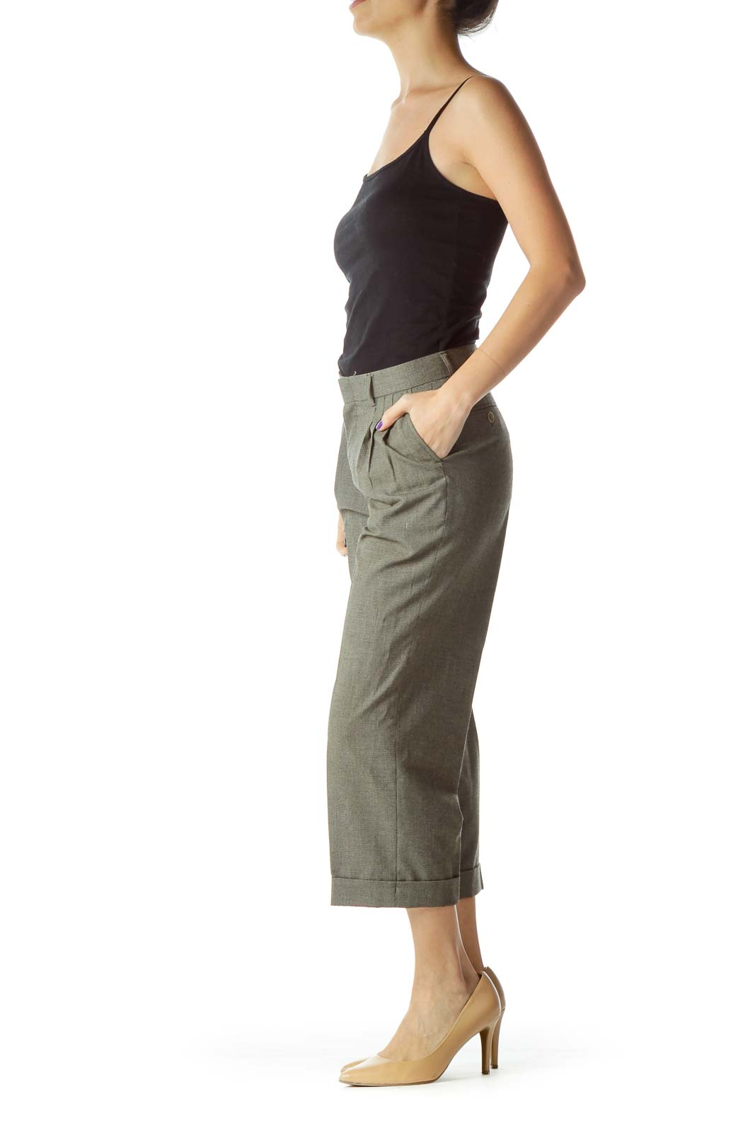 Gray High Waisted Cropped Tapered Pants
