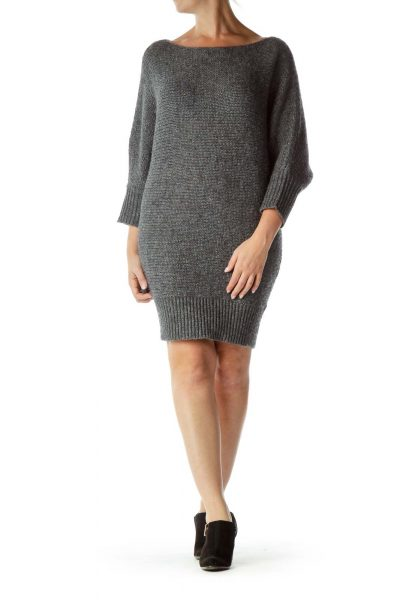 Gray Bat-Sleeve Chunky Knit Dress
