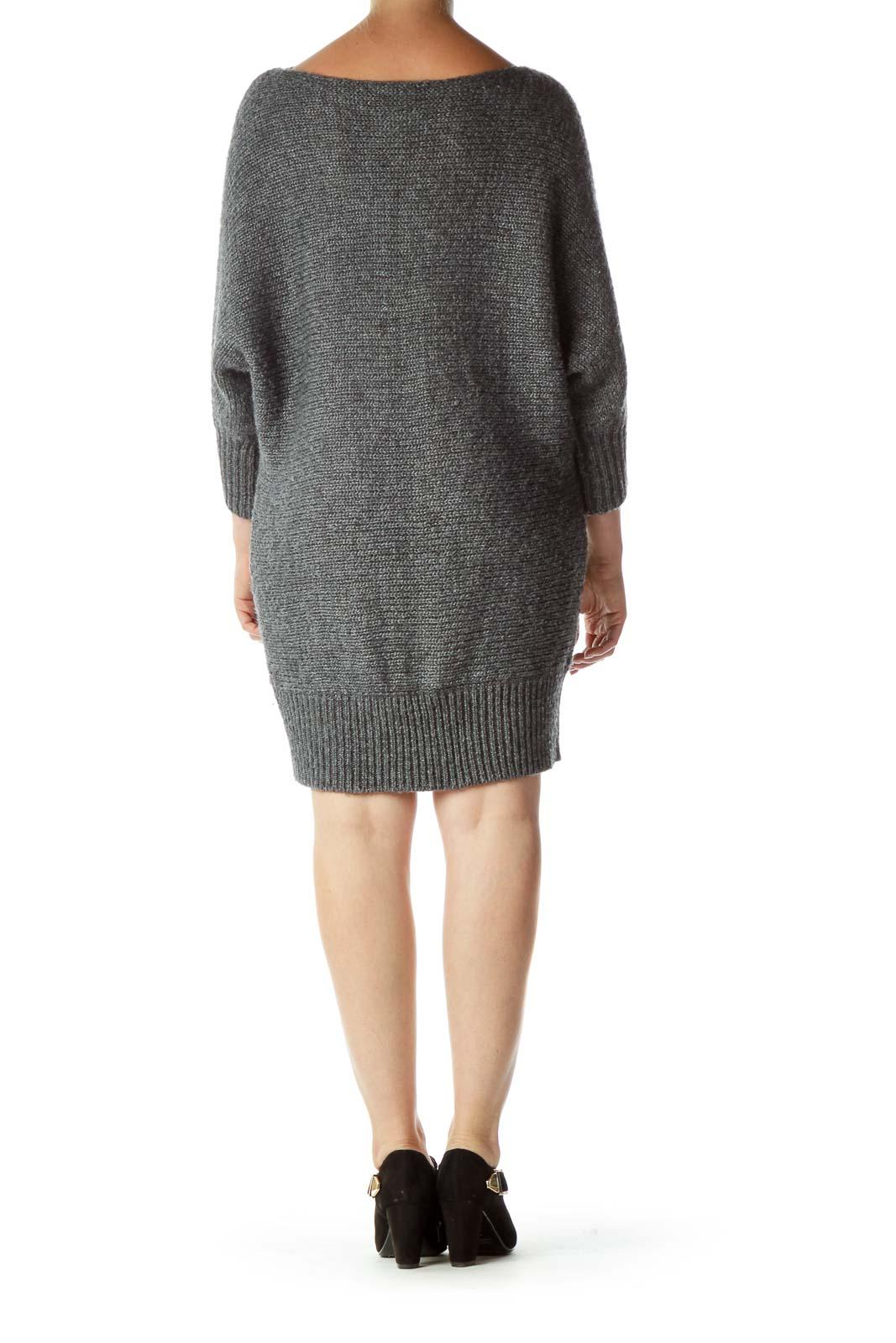 Gray Bat-Sleeve Chunky Knit Dress