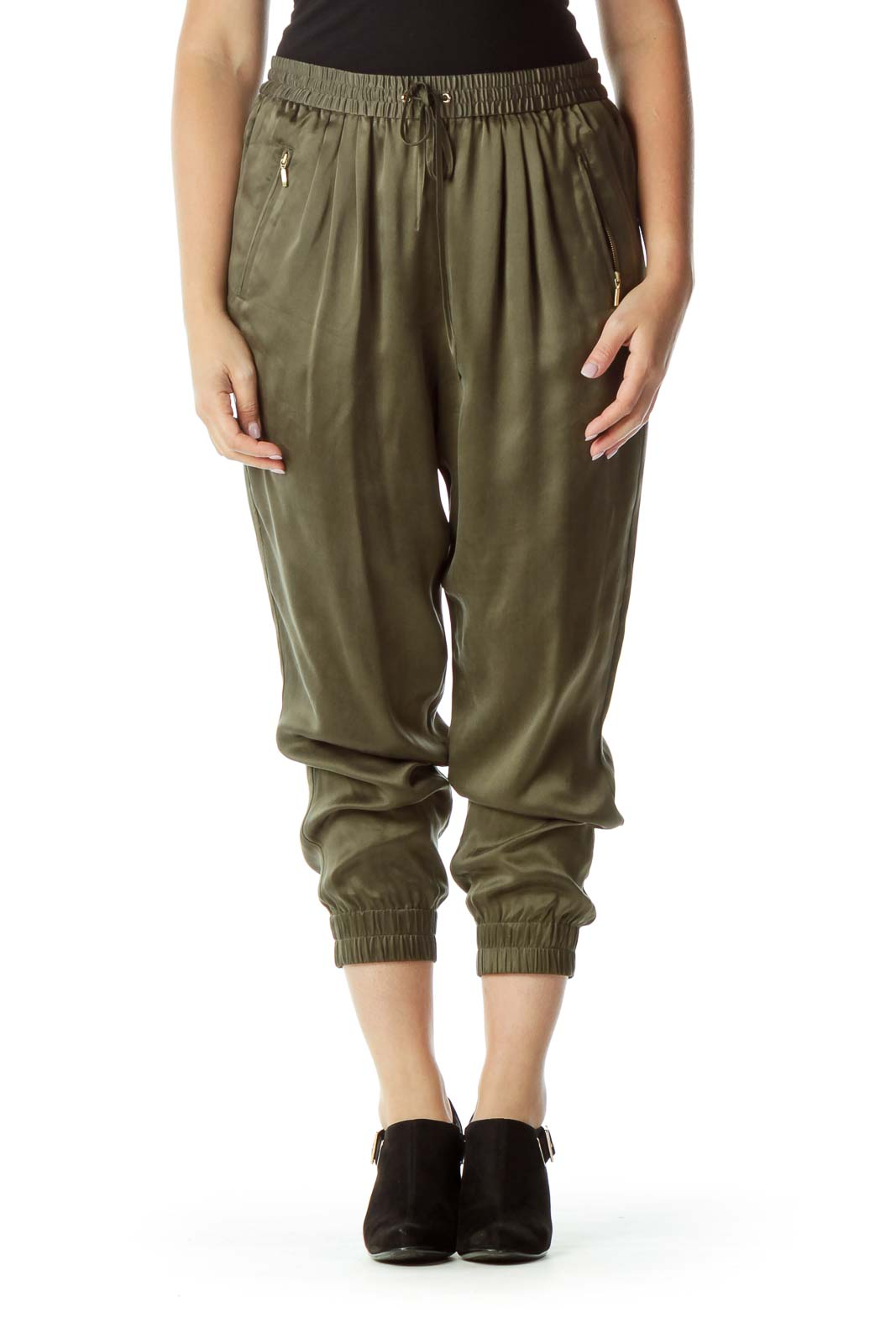 Green Tappered Silk Pants