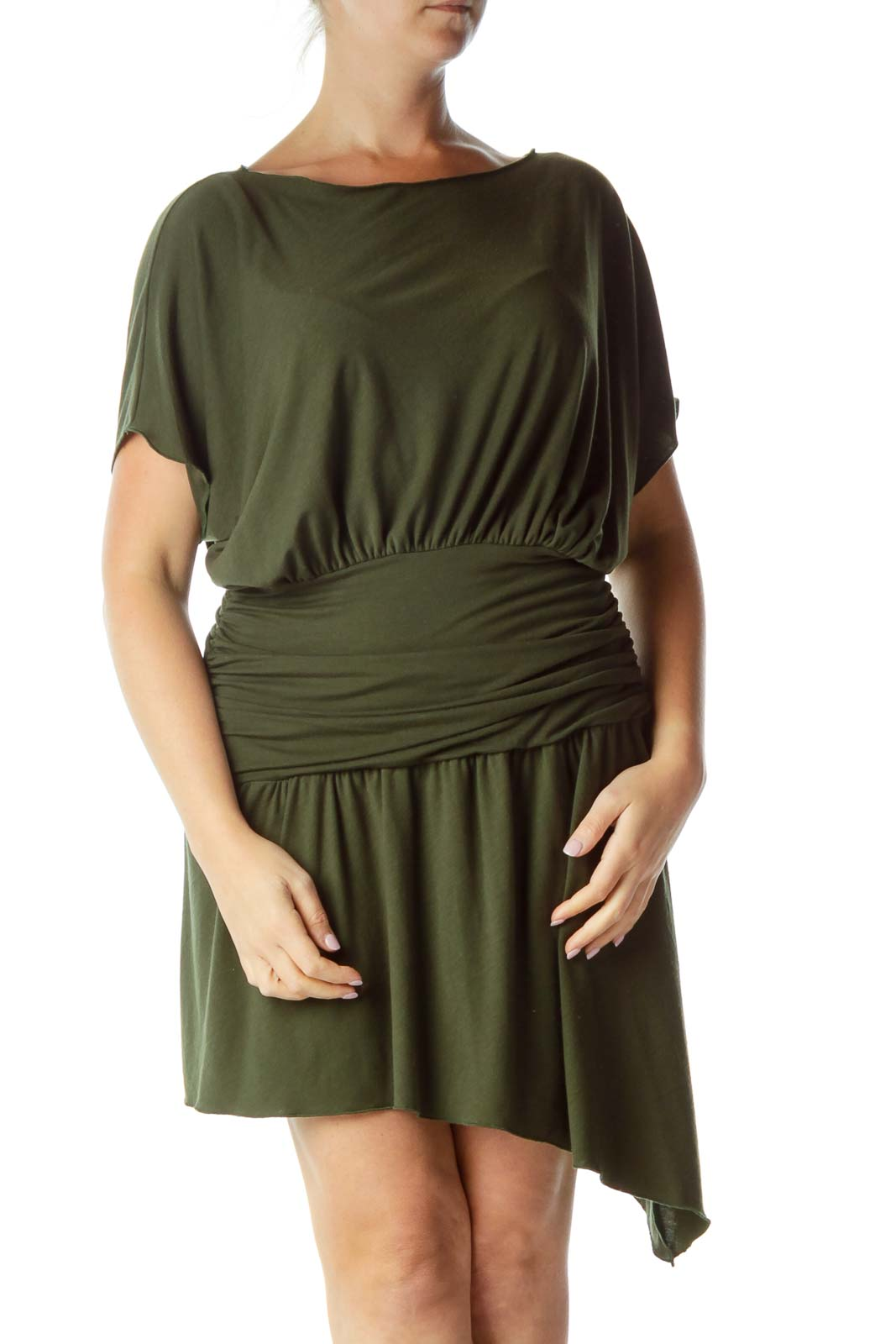 Green Bat Sleeve Cocktail Dress