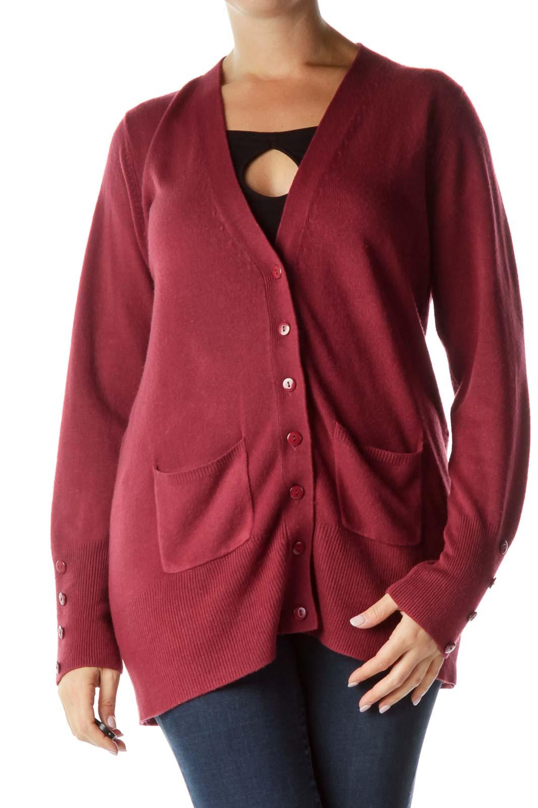 Purple Knit Buttoned Cardigan