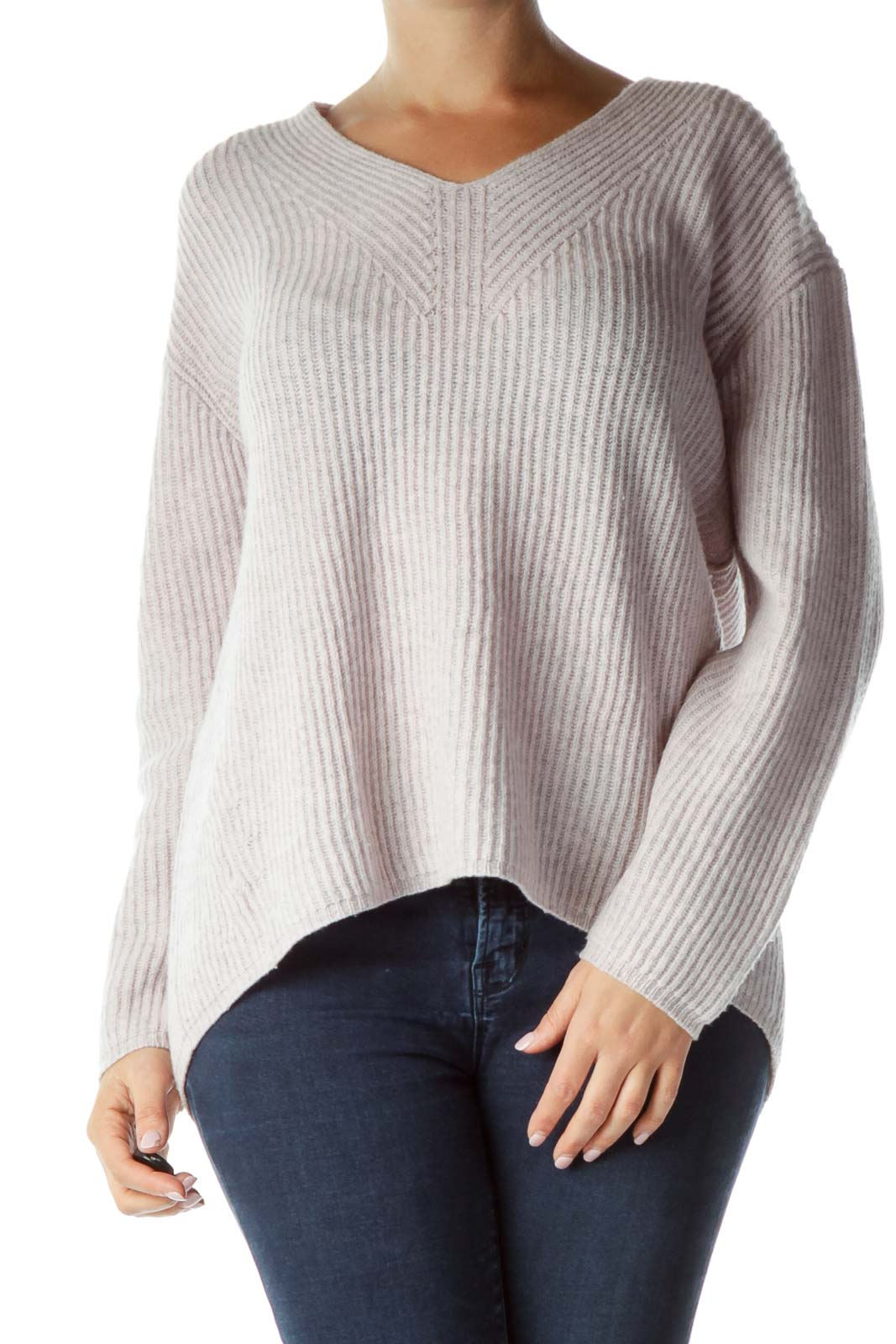 Pink Gray Merino Wool Cable Knit Sweater