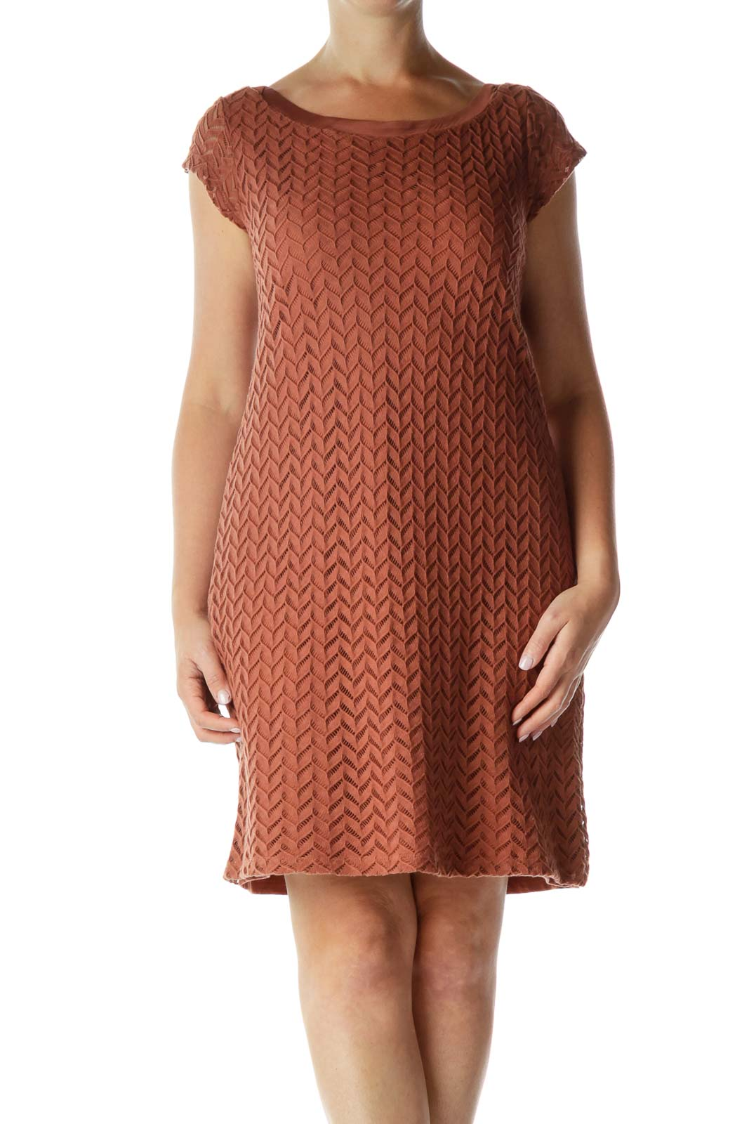 Brown Woven Shift Dress