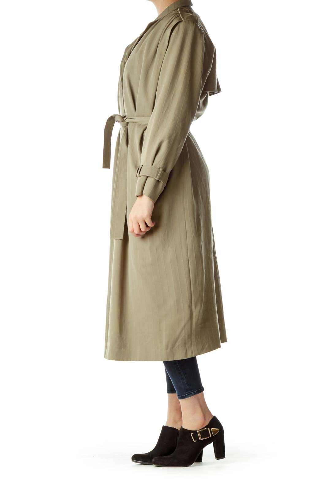 Green Pinstripe Long Trench Coat