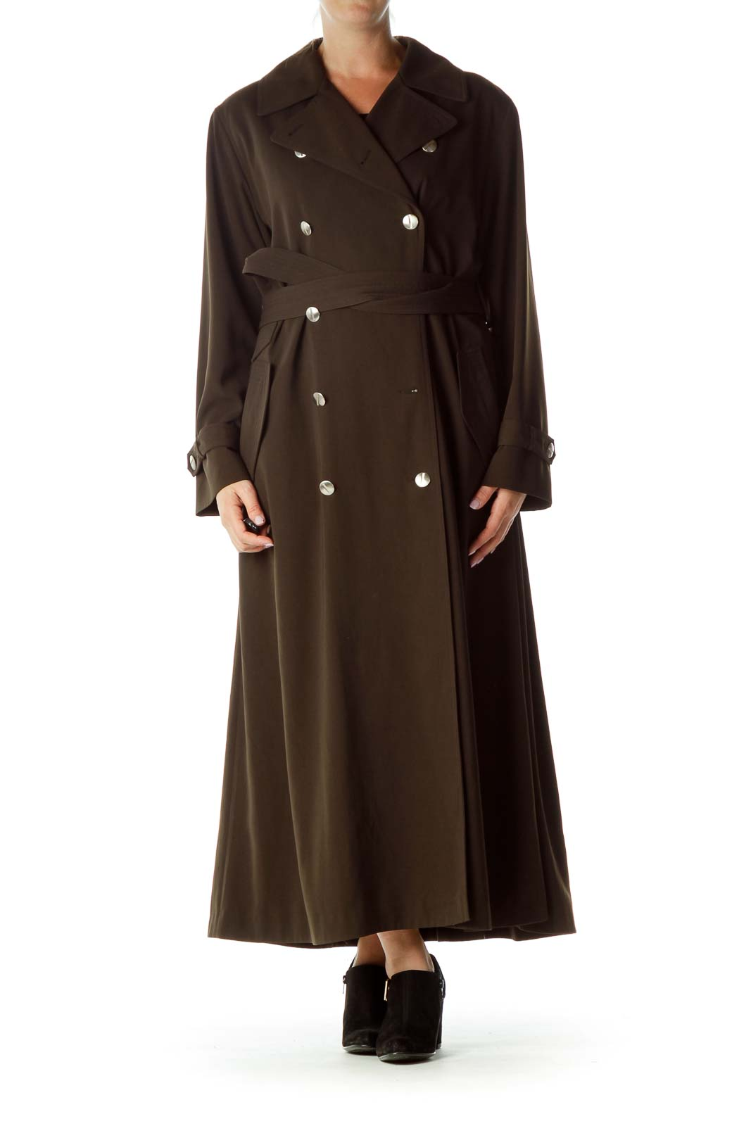 Brown Double-Breasted Trench Coat