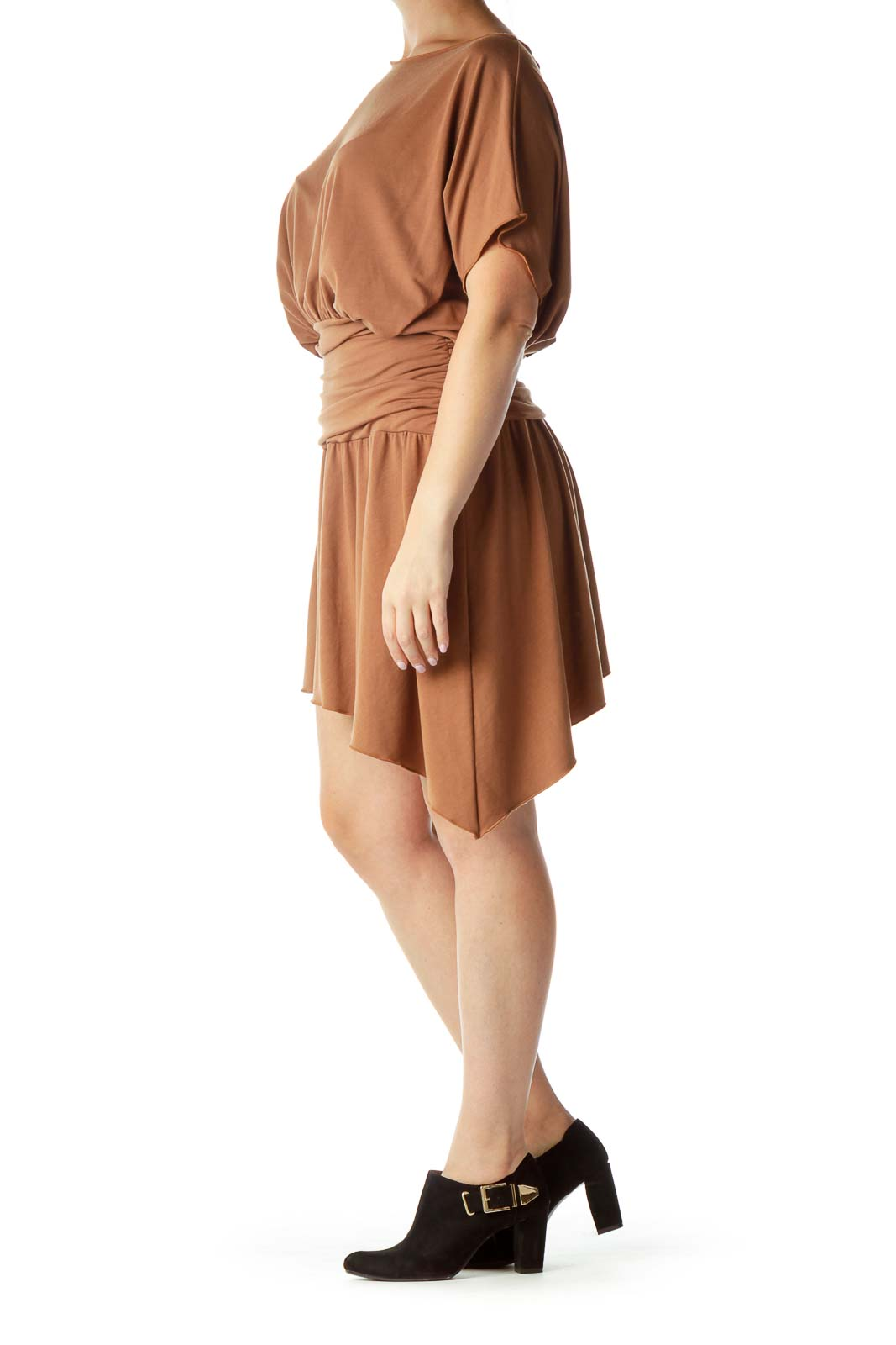 Brown Bat-Sleeve Day Dress