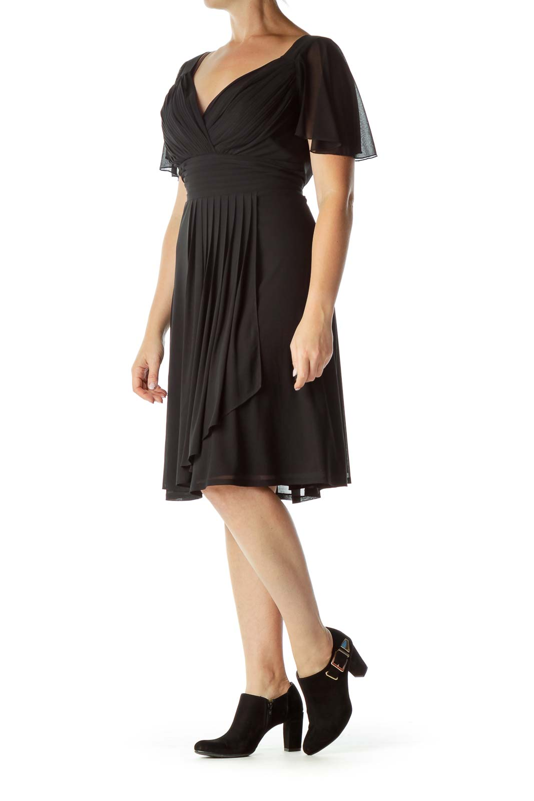 Black Pleated Empire Waist Cocktail Dress