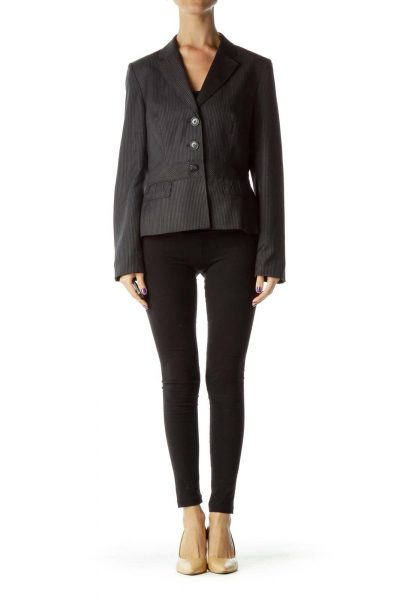 Black White Pinstripe Buttoned Blazer
