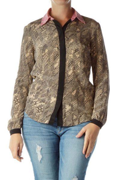 Beige Black Printed Silk Blouse