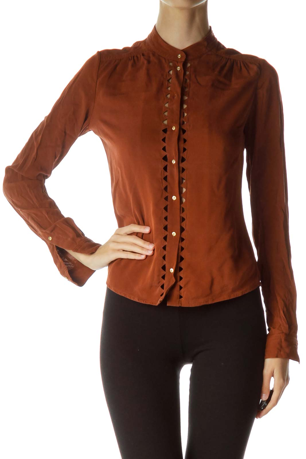 Brown Cut-Out Buttoned Blouse