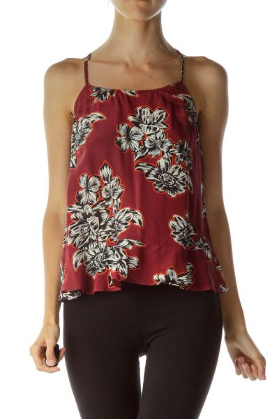 Red Cream Racer-Back Sleeveless Blouse