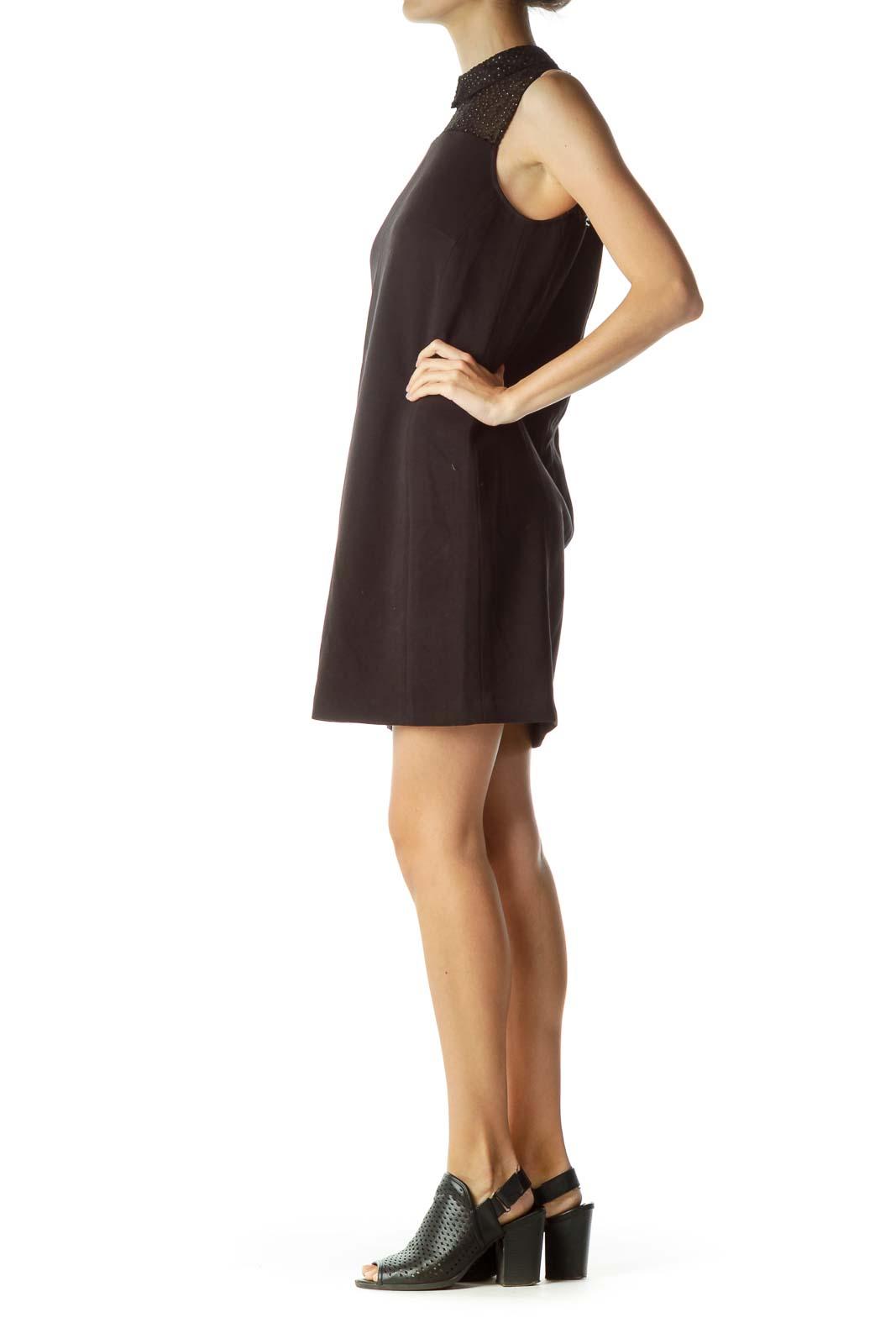 Black Sheer Collared Shift Dress