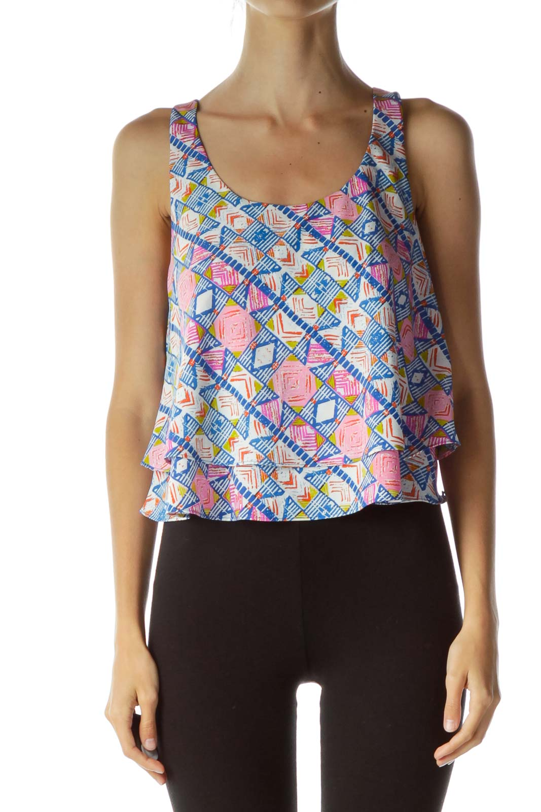 Multicolor Print Cropped Sleeveless Top