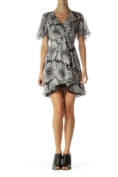 White Black Printed Cocktail Dress