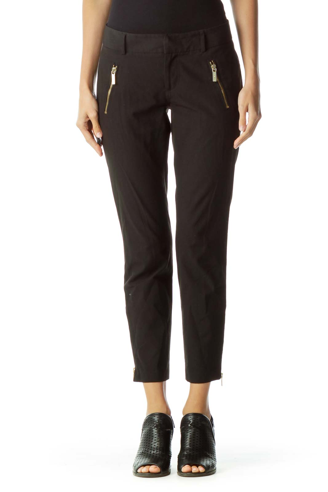 Black Gold Zippered Slacks