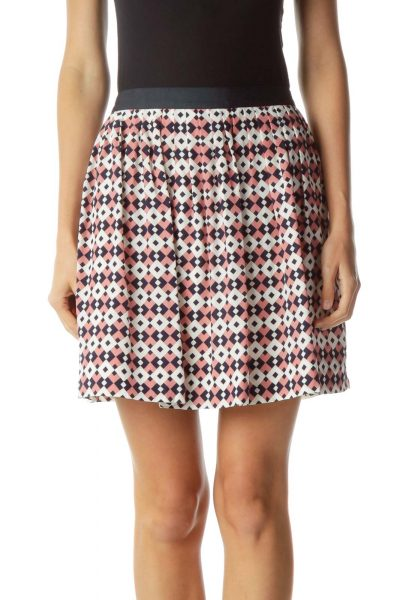 Navy Pink White Geometric Pleated Skirt