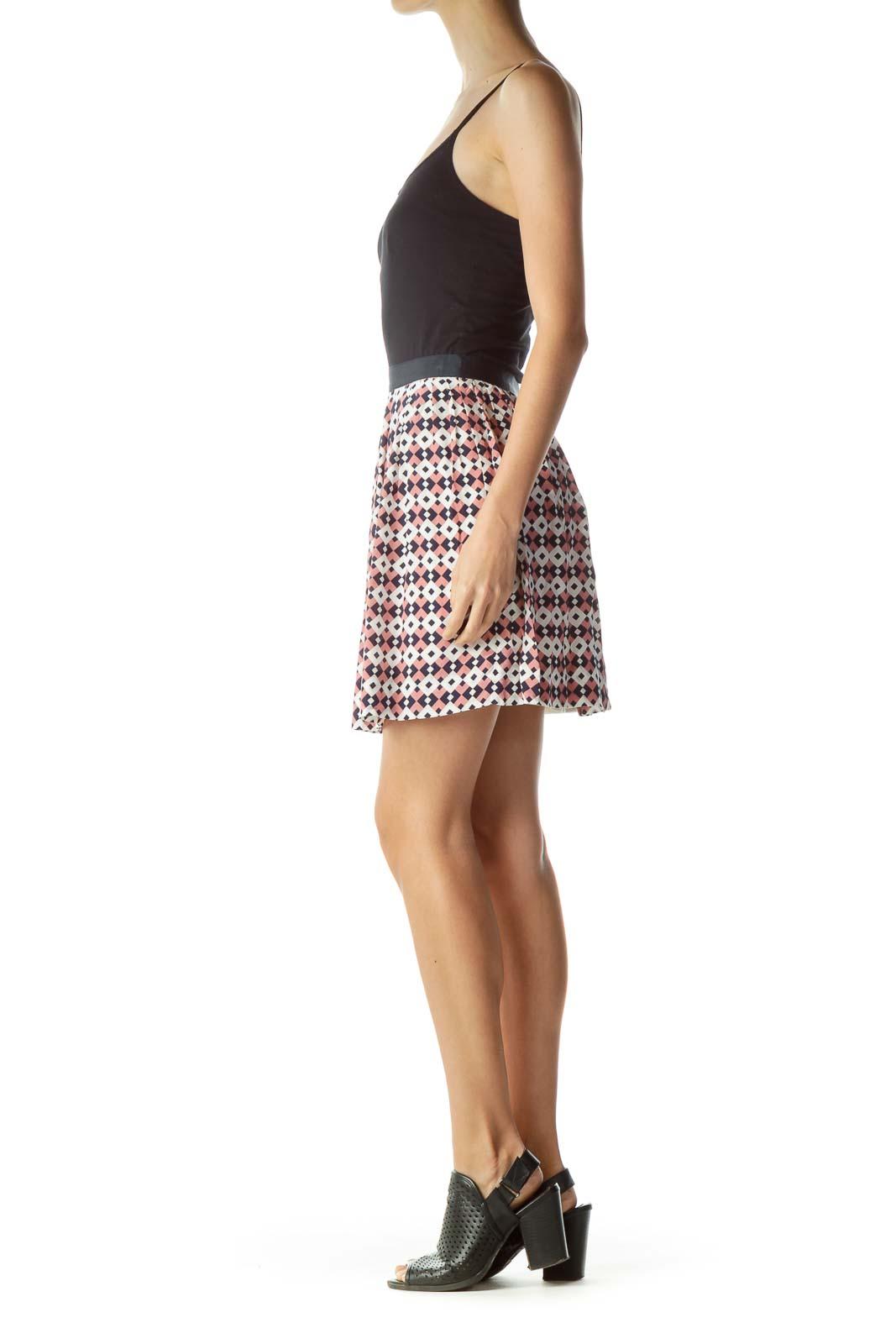 Navy Pink White Geometric Pleated Skirt