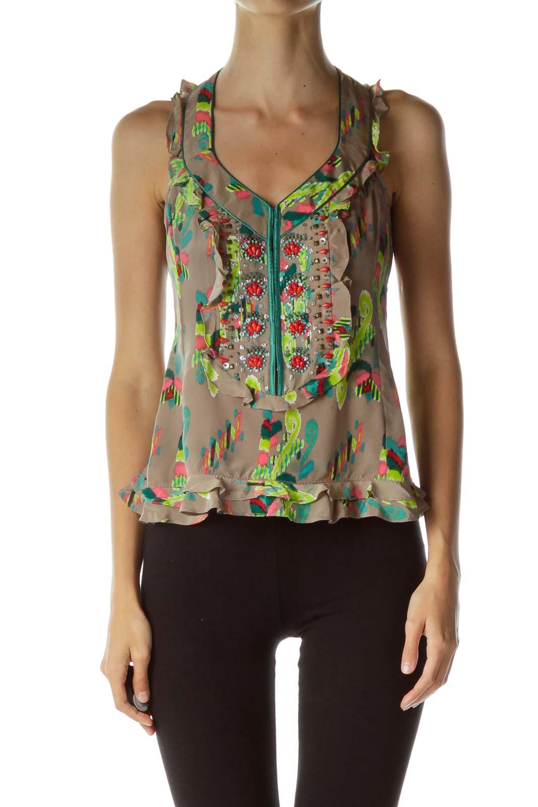 Multicolor Beaded Ruffled Silk Top