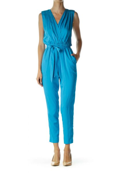 Blue Open-Back Pleated Jumpsuit