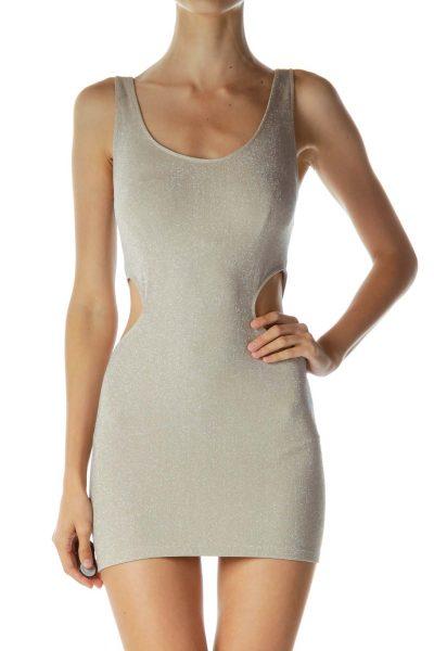 Beige Metallic Cut-Out Bodycon Dress