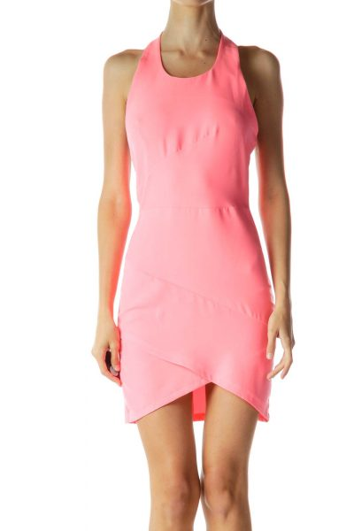 Pink Halter Fitted Cocktail Dress
