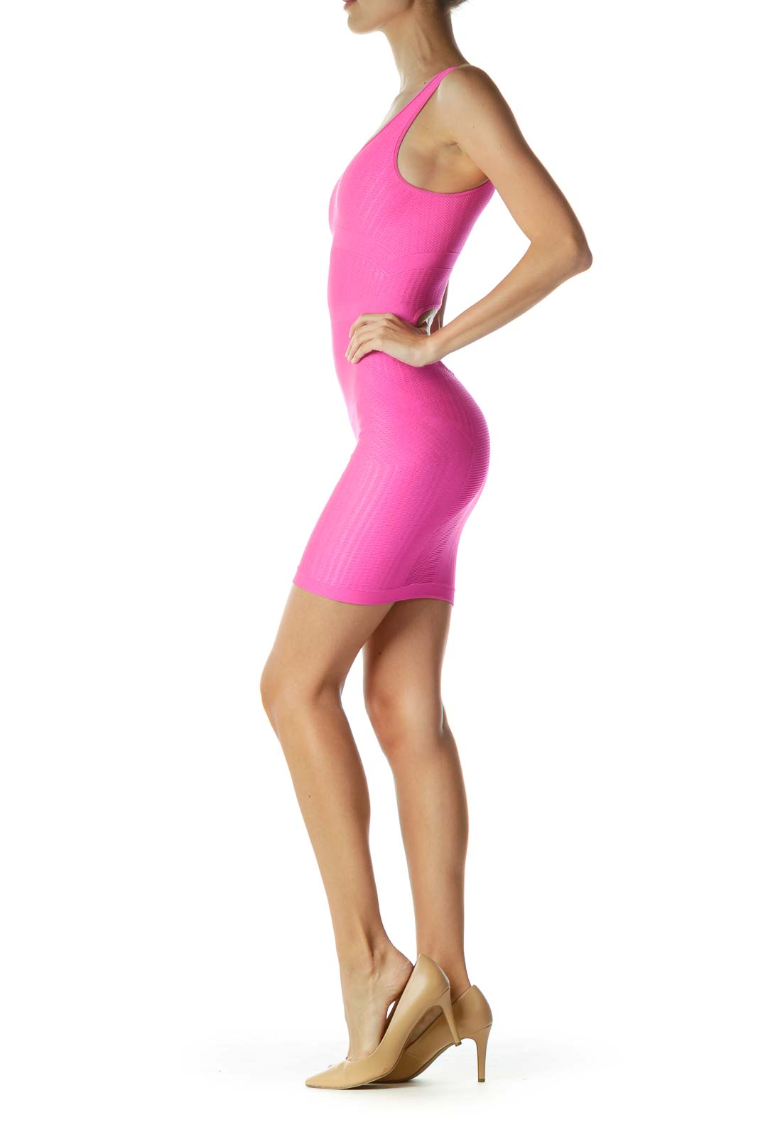 Pink Textured Open Back Bodycon Dress