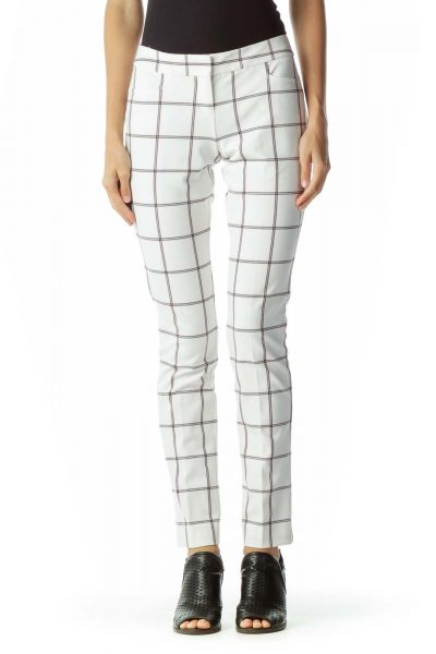White Blue Checkered Tapered Slacks