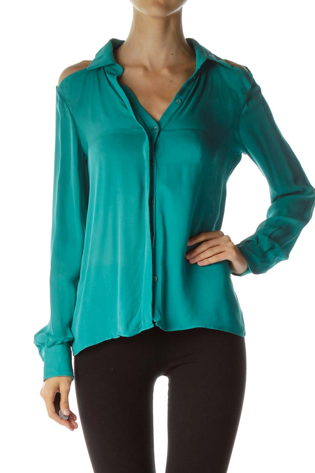 Green Cut-Out Silk Blouse