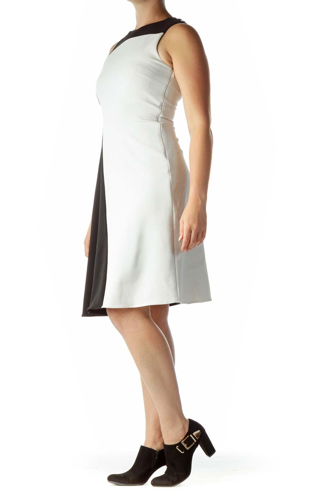 Black White Color-Block Flared Dress
