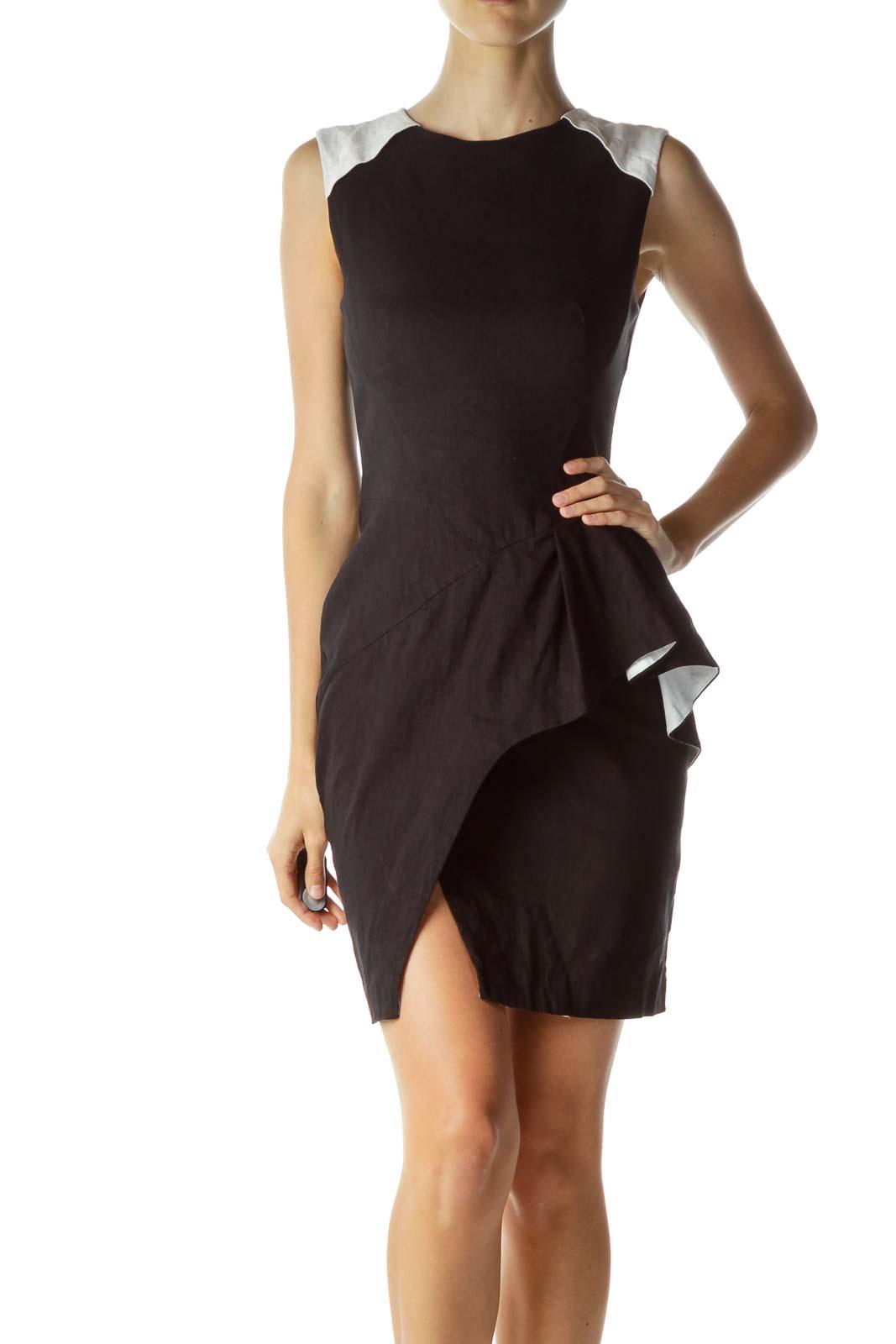 Black White Peplum Detail Cocktail Dress