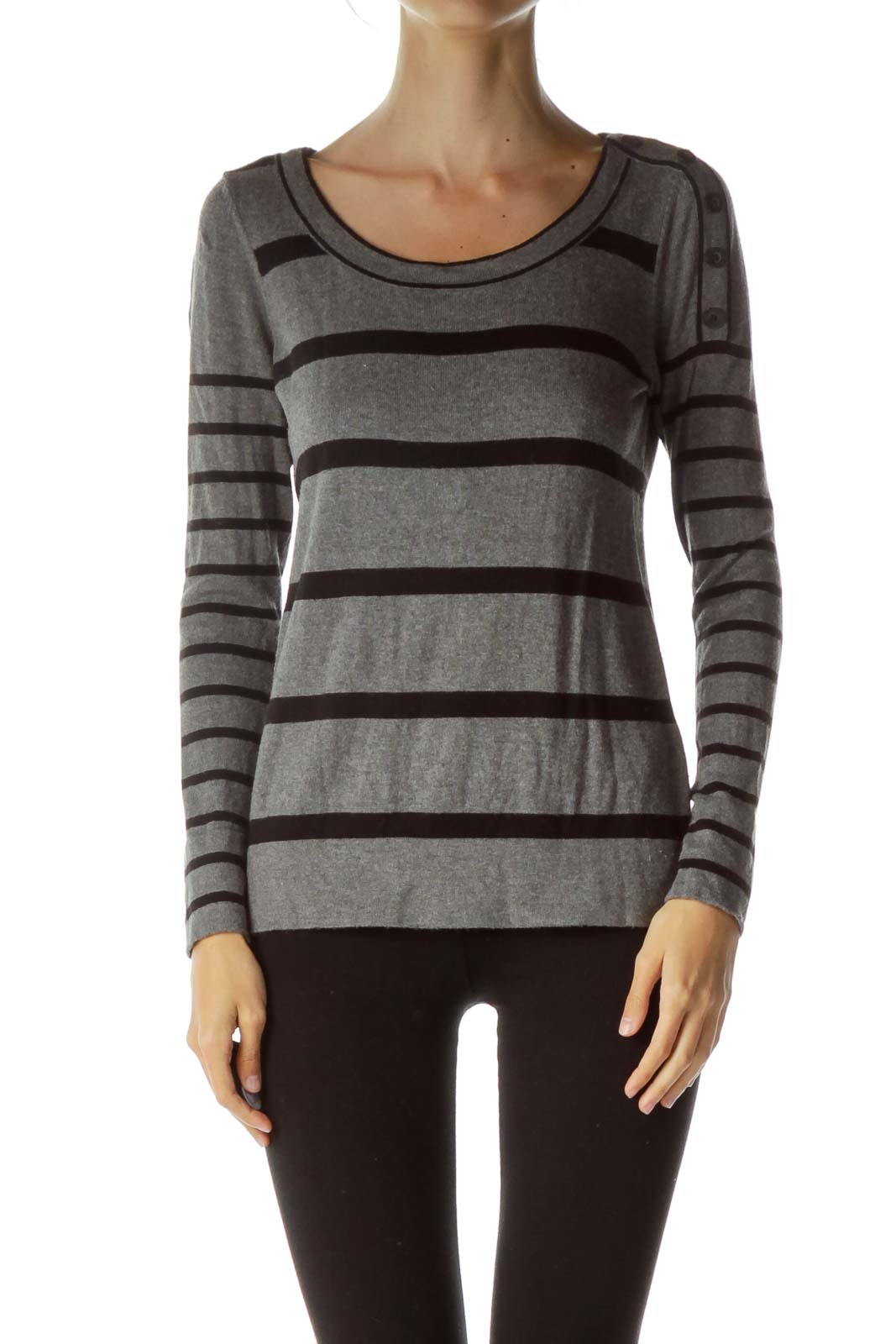 Gray Black Striped Knit Sweater