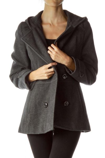 Gray Double Breasted Hooded Coat