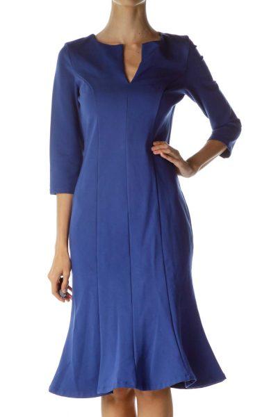 Blue Midi Trumpet Dress