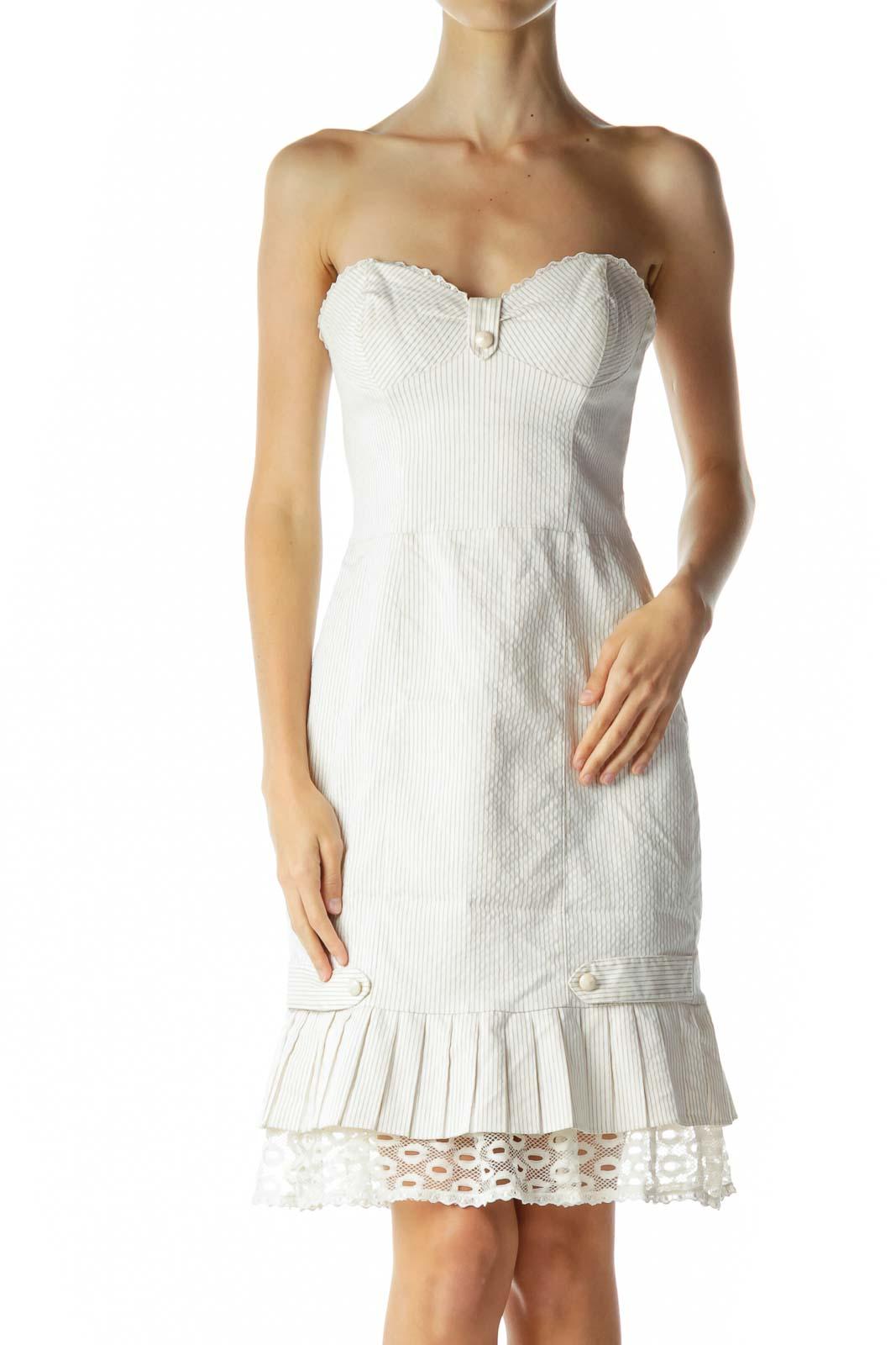 Cream Pinstripe Strapless Day Dress