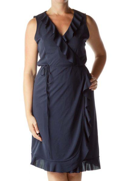 Navy Ruffled Sleeveless Wrap Dress